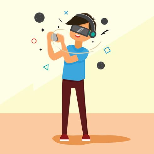 A Man With Virtual Reality Device vector