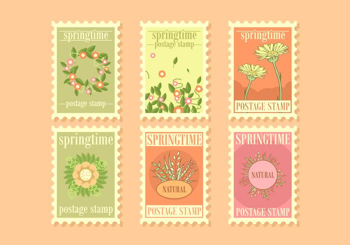 Springtime Postage Stamps Vector