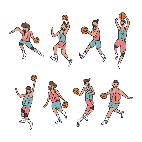 Set Of Colorful Basketball Players