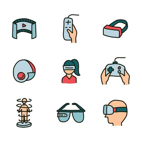 Set Of Doodled Icons Of Virtual Reality Experience