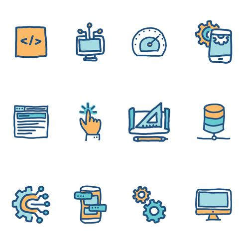 Blue Doodled Icons Over software-ingenieurs