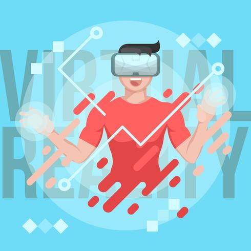 Virtual Reality Experience Man Vektor Illustration