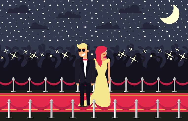 Hollywood Red Carpet Flat Illustration Vector