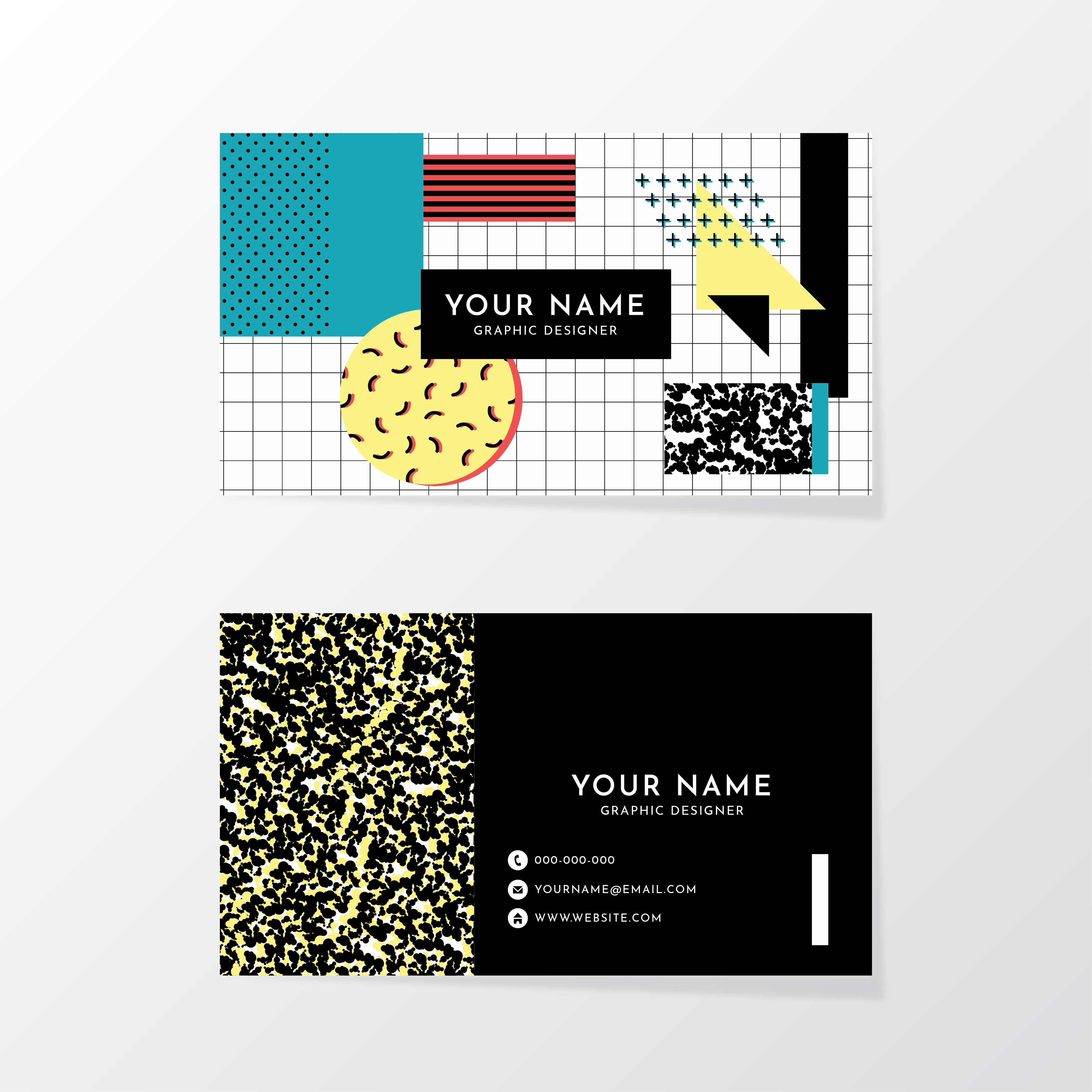 Memphis design business card template download free for Business cards memphis