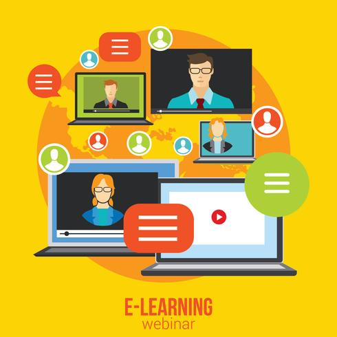 Webinar Online Training Onderwijs Concept Vector Distance Learning E-learning Conference Chat