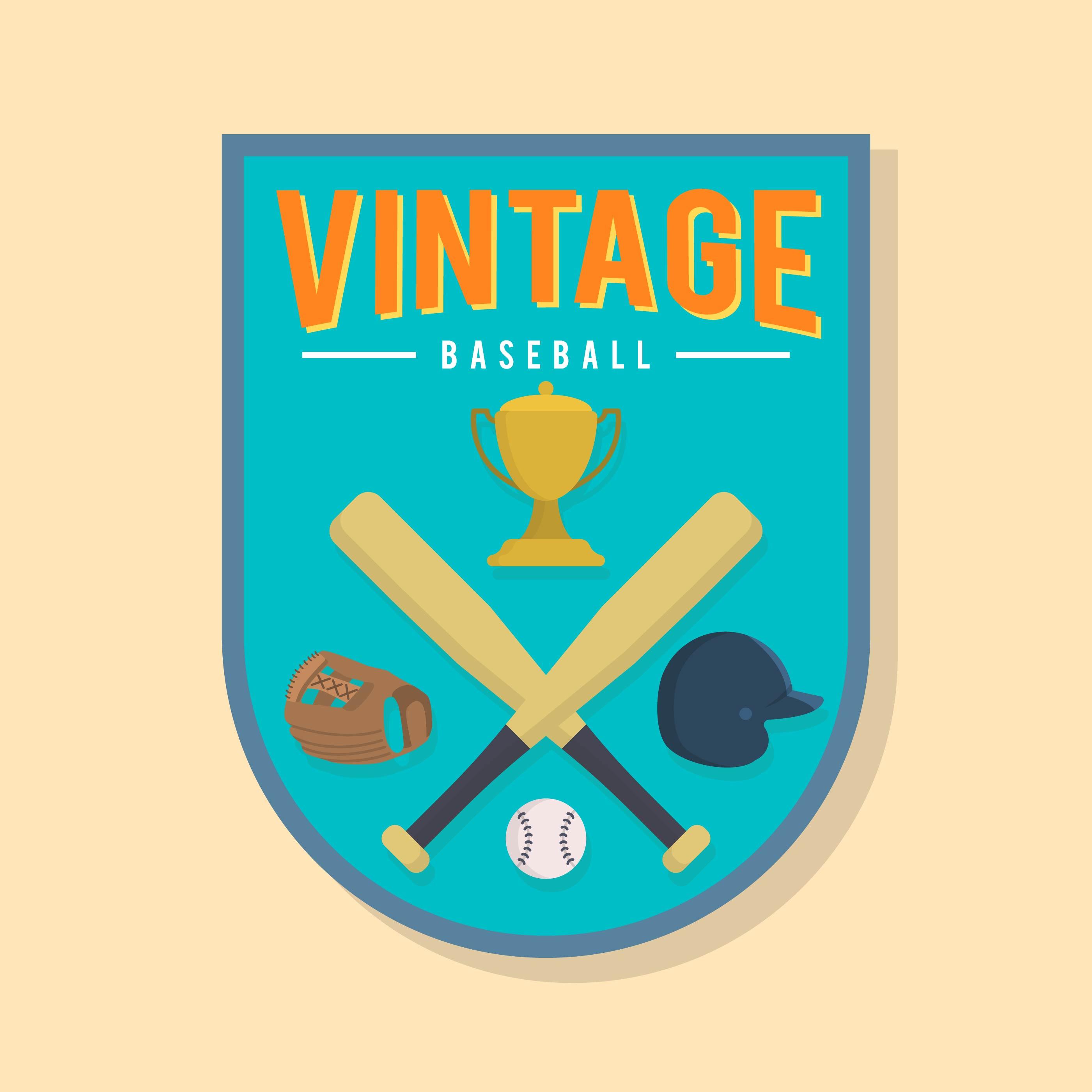 Flat Vintage Baseball Badge Vector 180389