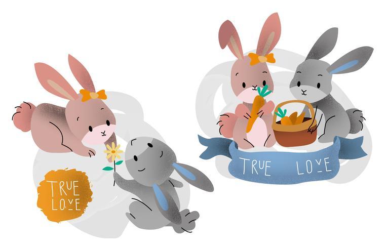 Leuk konijn paar verliefd vectorillustratie