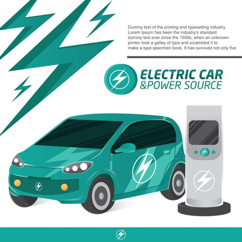 Electic Car and Charger Cool Concept Vector - Download Free Vector Art, Stock Graphics & Images