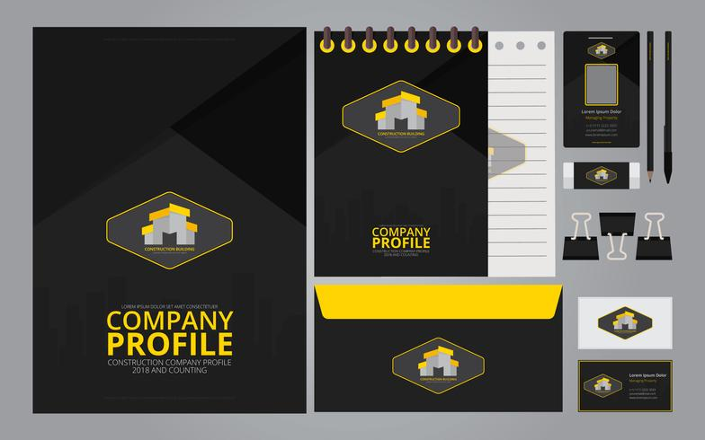 construction logos in stationery set media construction company profile template