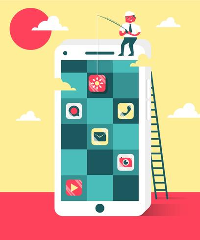 Software Engineers Smartphone Apps Flat Illustration Vector