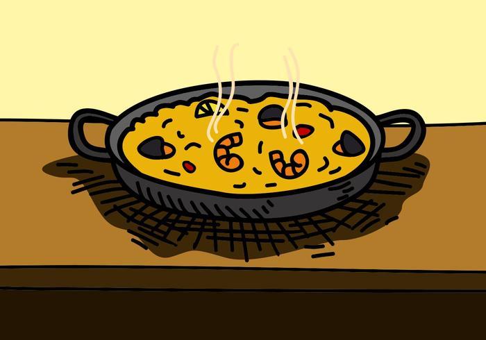 Paella mit Meeresfrüchten auf Pan