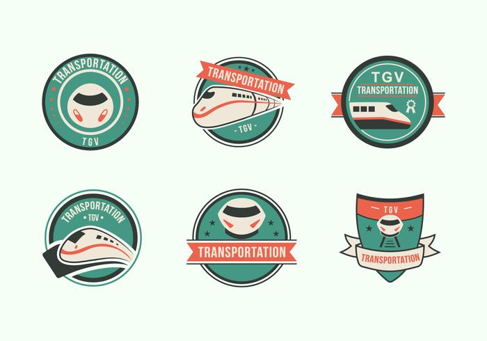 Etiqueta de icono plano de tren de alta velocidad TGV ciudad tren vector