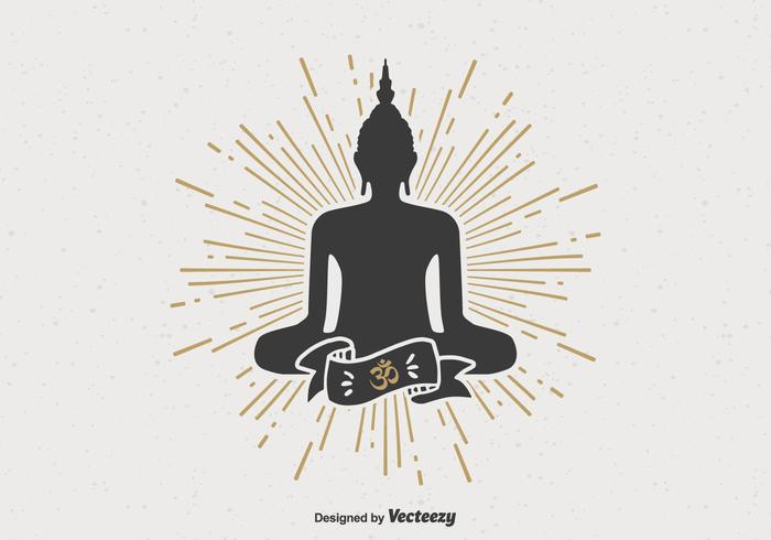 Black Buddah Silhouette On Retro Sunburst Vector