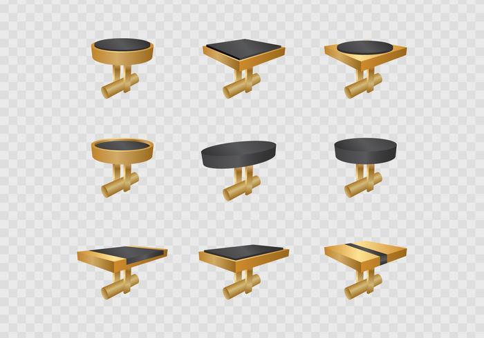 Gold Manschettenknöpfe Set