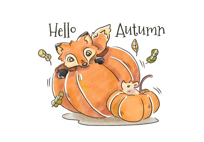 Cute Fox And Mouse Inside Pumpkin To Autumn Season - Download Free Vector Art, Stock Graphics & Images