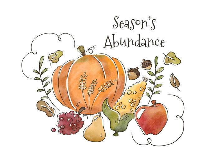 Watercolor Healthy Autumn Fruit And Vegetables Floating With Leaves And Ornament To Fall Season - Download Free Vector Art, Stock Graphics & Images