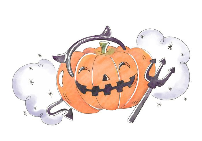 Cute And Scary Pumpkin Smiling Wearing Devil Horns Vector
