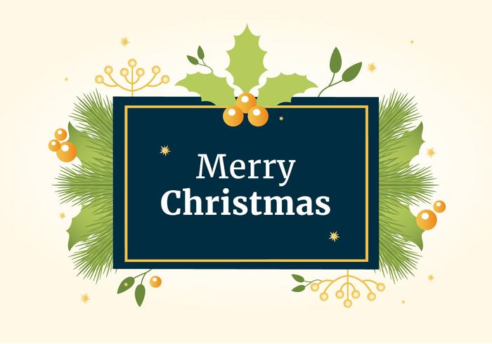 Free Flat Design Vector Holiday Greeting Card