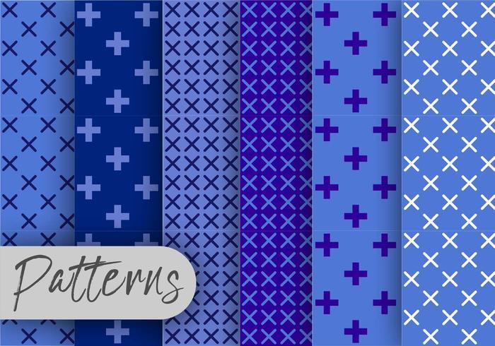 Geometrische blauwe patroon ingesteld