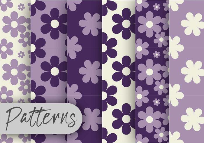 Conjunto de padrões florais roxos