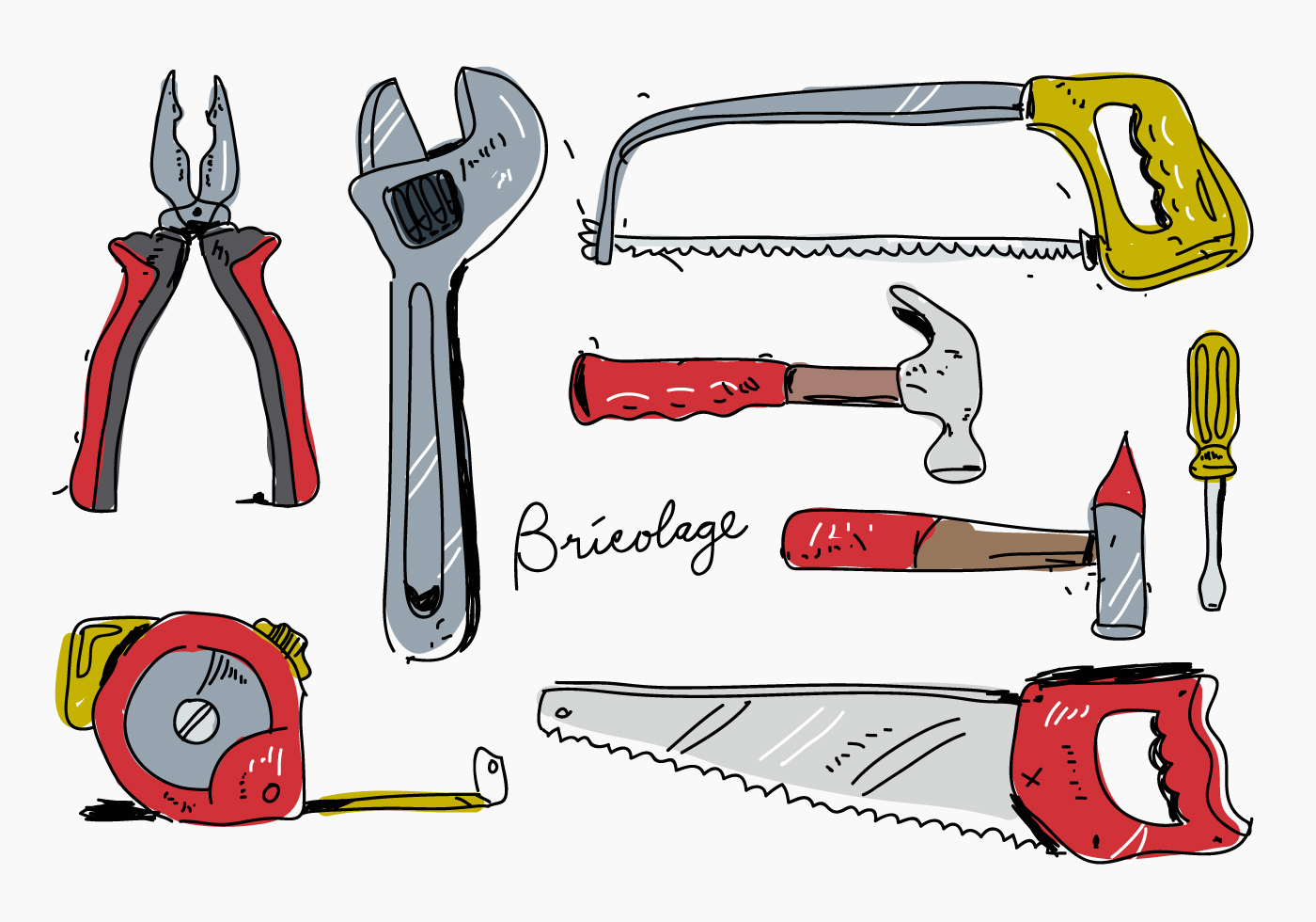 Bricolage hand drawn vector illustration download free - Clipart bricolage ...