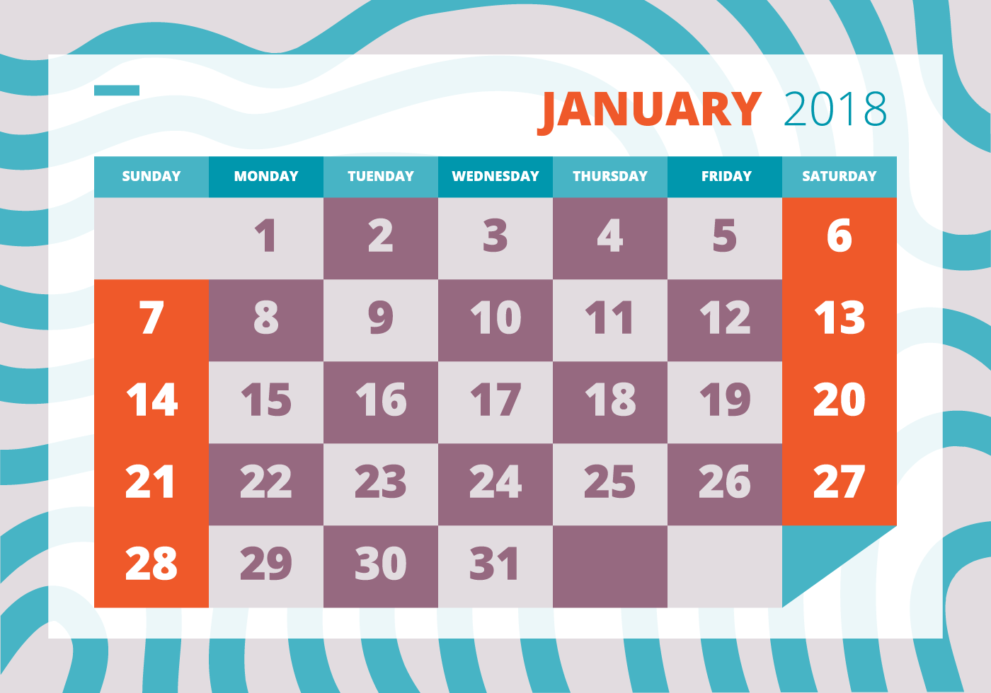 Printable Calendar 2018 Download Free Vector Art Stock