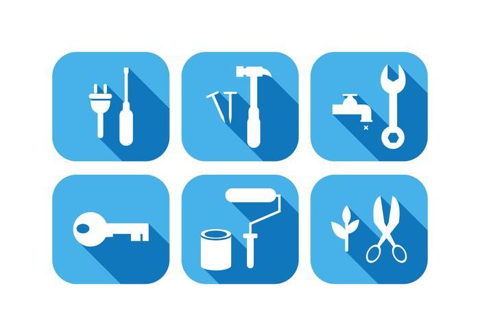 Ícones da ferramenta de trabalho no vetor de design plano