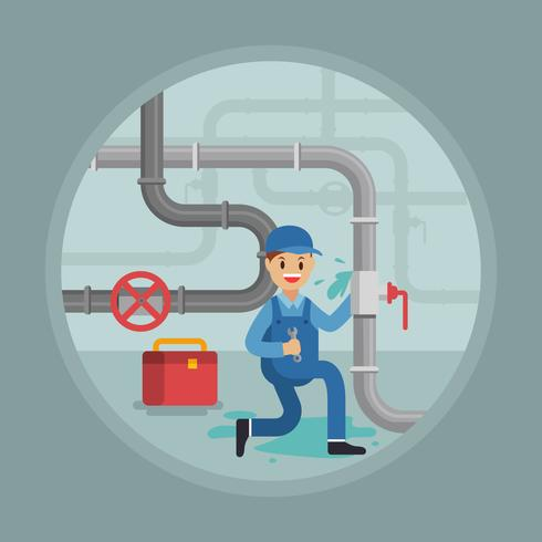 Plumber repair man illustration