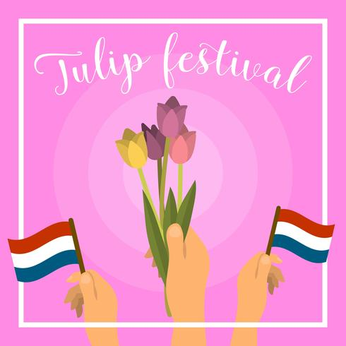 Flat Netherland Tulip Festival Vector Illustration - Download Free Vector Art, Stock Graphics & Images