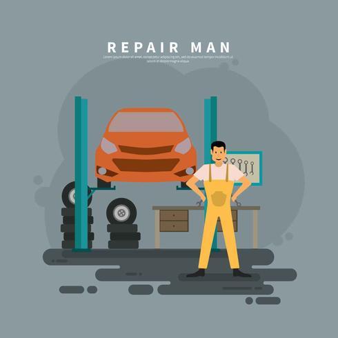 Reparador en la ilustración de servicio de coche vector