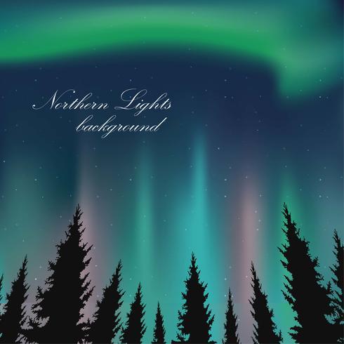Ilustração da paisagem das luzes do norte