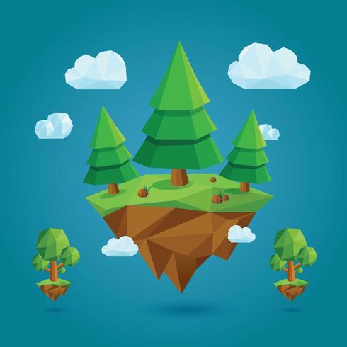 Low Poly Geometrische Bäume und Insel