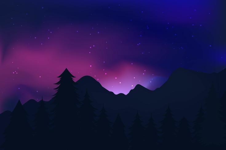Vetores de paisagem de luzes do norte