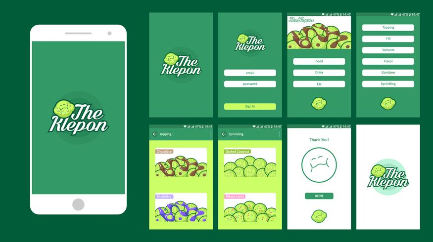 L'interfaccia utente di Klepon Online Food Shop Mobile UI Free Vector