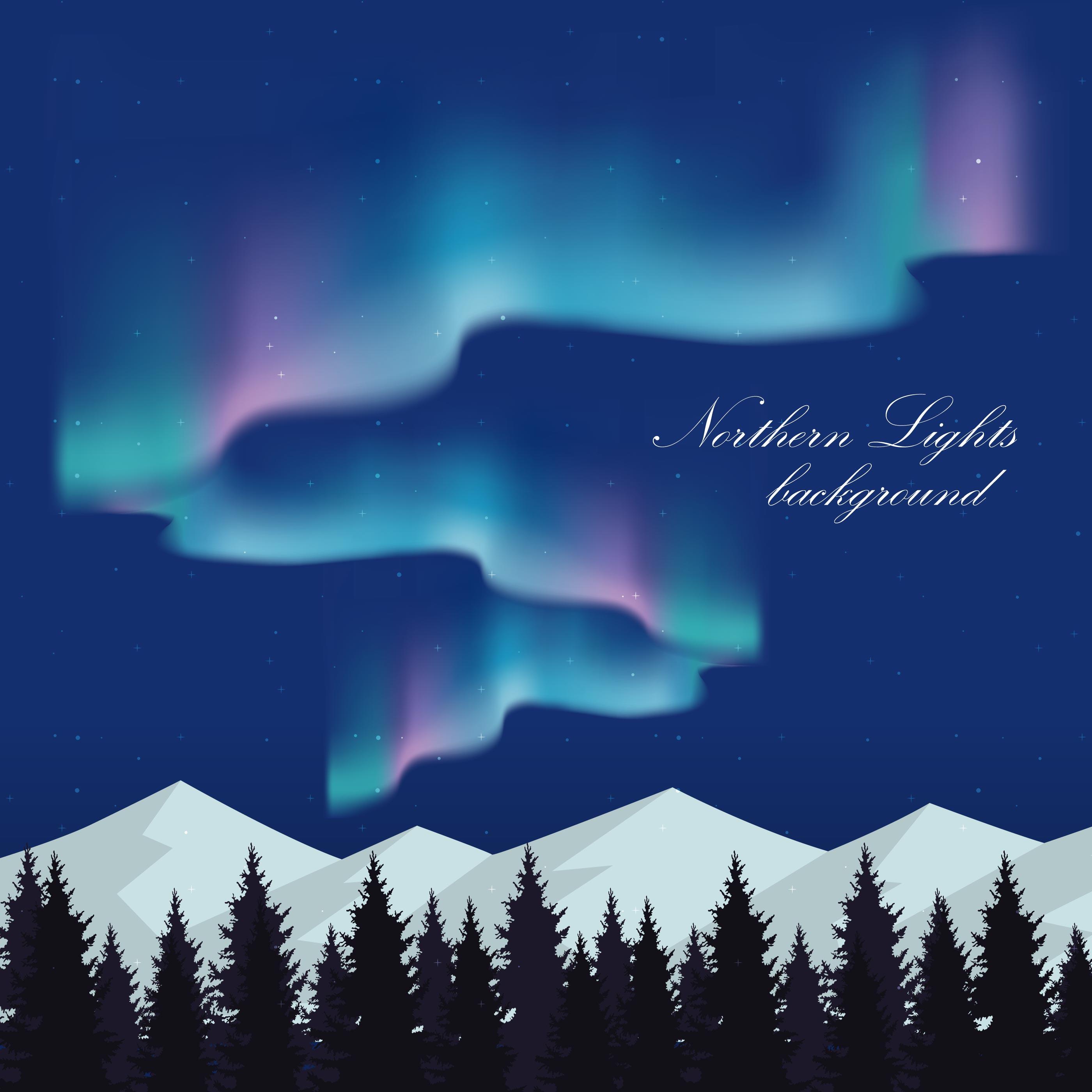 Landscape Illustration Vector Free: Northern Lights Landscape Illustration