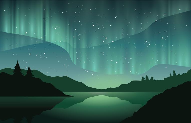 Beautiful Northern Lights vector