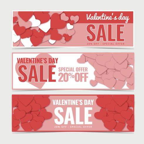 Vector Valentine's day Sale Banners