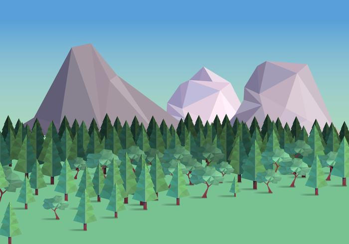 Low Poly Forest With Mountain Background Ilustração vetorial