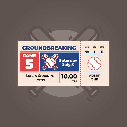 Baseball ticket template - Download Free Vector Art, Stock Graphics ...