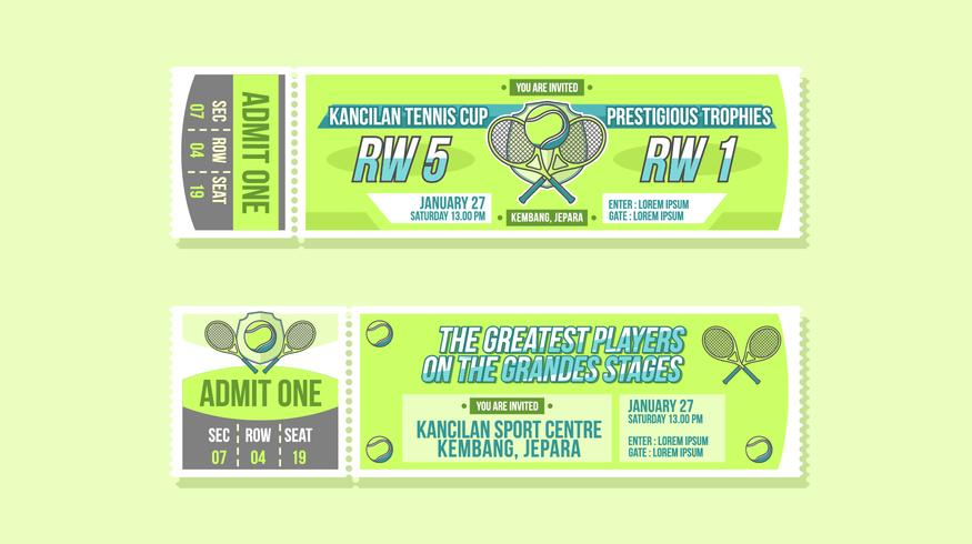 Tennis Cup Event Ticket Vector