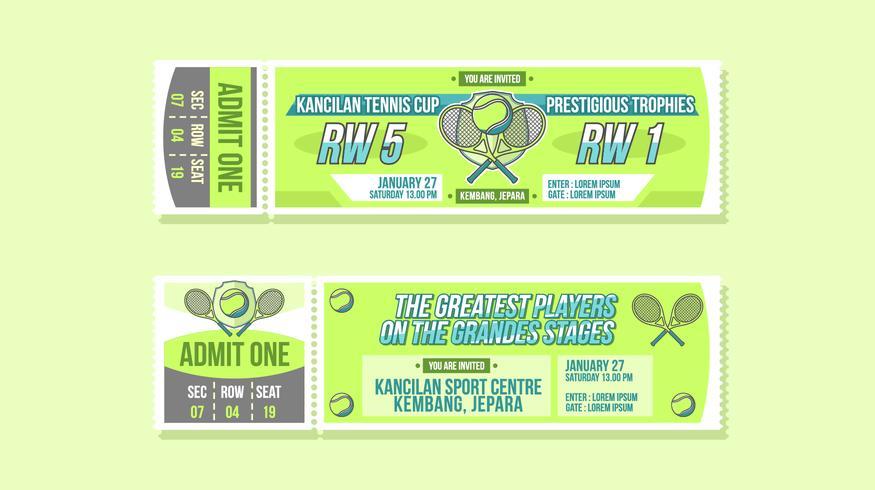 Vecteur de billet d'événement de Coupe de tennis