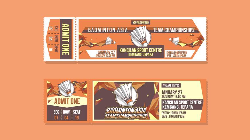 Badminton Championships Ticket Free Vector
