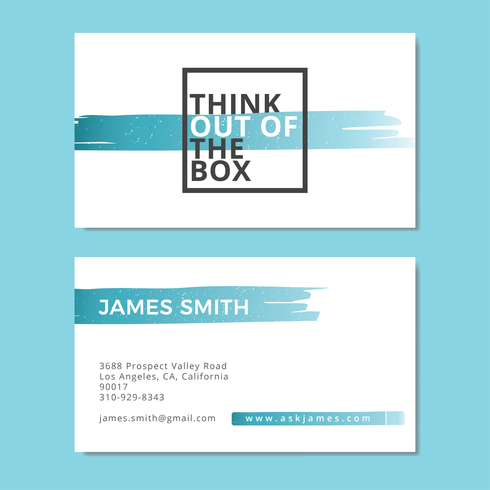 Think Out of The Box with Brush Stroke Business Card