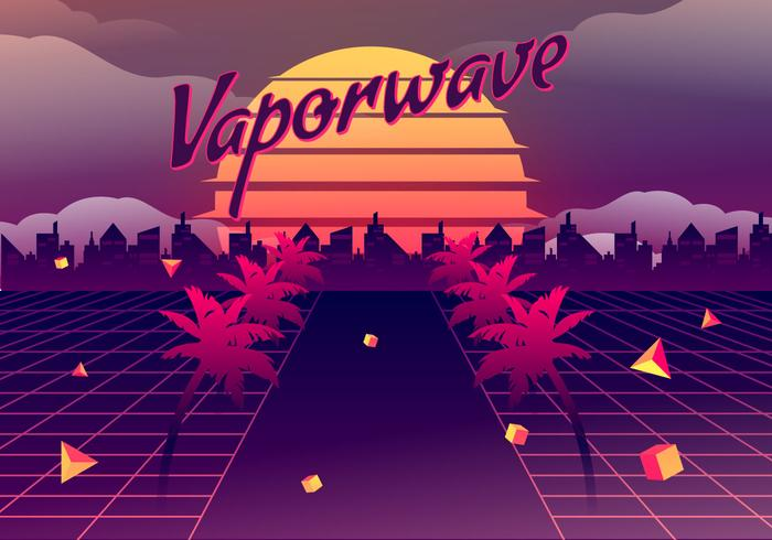 Vaporwave Vector Background Illustration