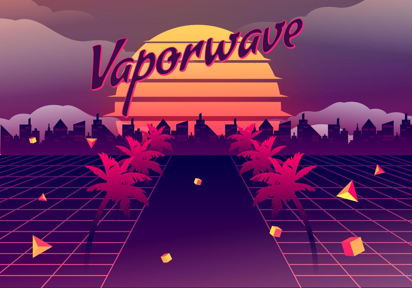 Vaporwave Vector Background Illustration Download Free Vectors