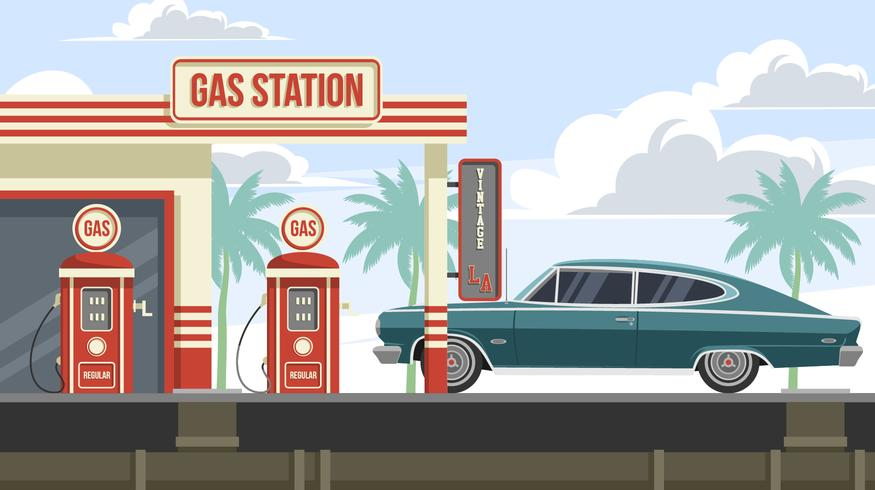 Vintage LA en Rambler Marlin At Gas Station Gratis Vector