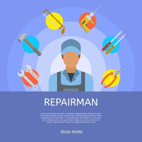 Illustrazione piana di vettore di riparazione dell'uomo