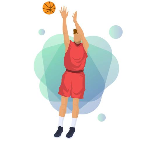 Flat Basketball Player Vector Illustration