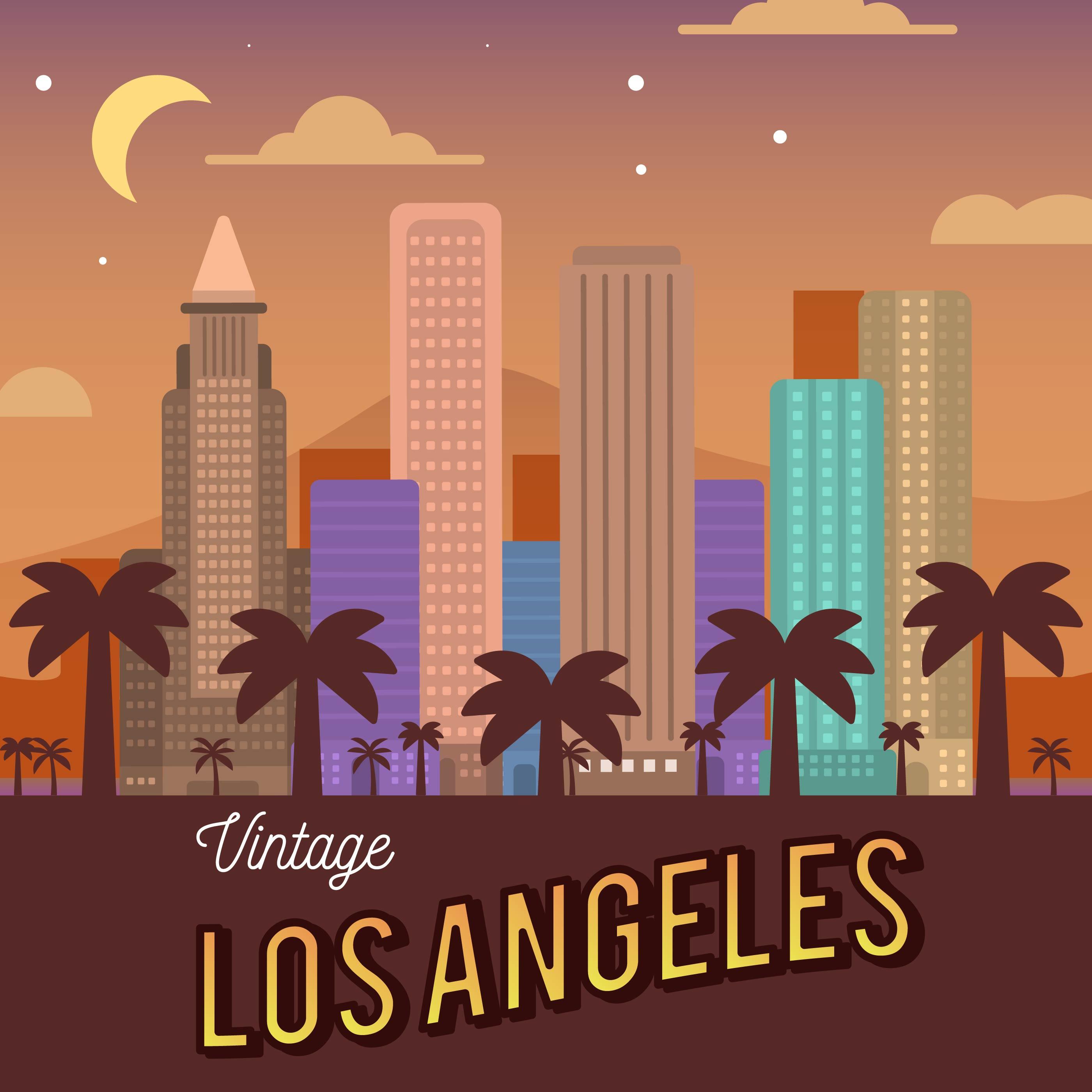 Arte Design In Los Angeles Images: Vintage Los Angeles Skyline Vector Illustration