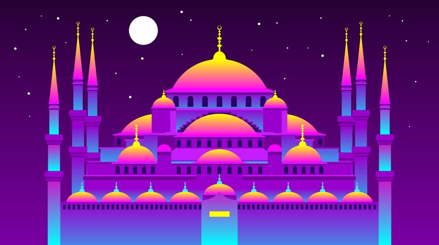 Vaporwave Istanbul Blue Mosque Vector